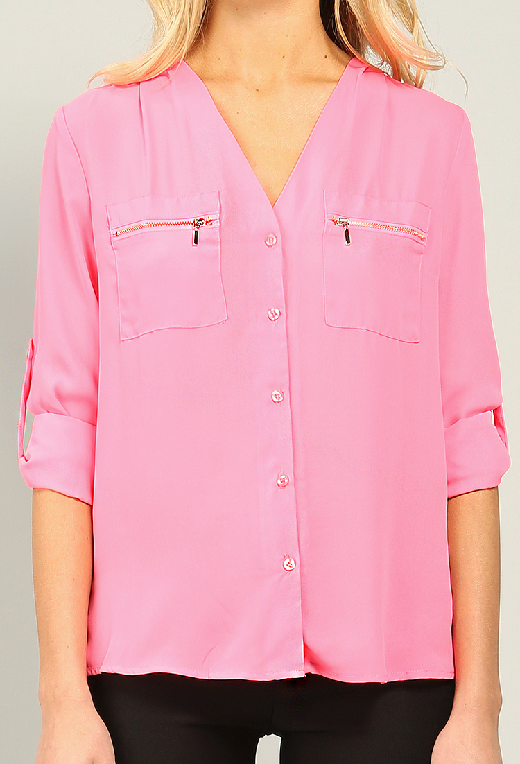 zipper pocket blouse shirt shop dressy tops at papaya