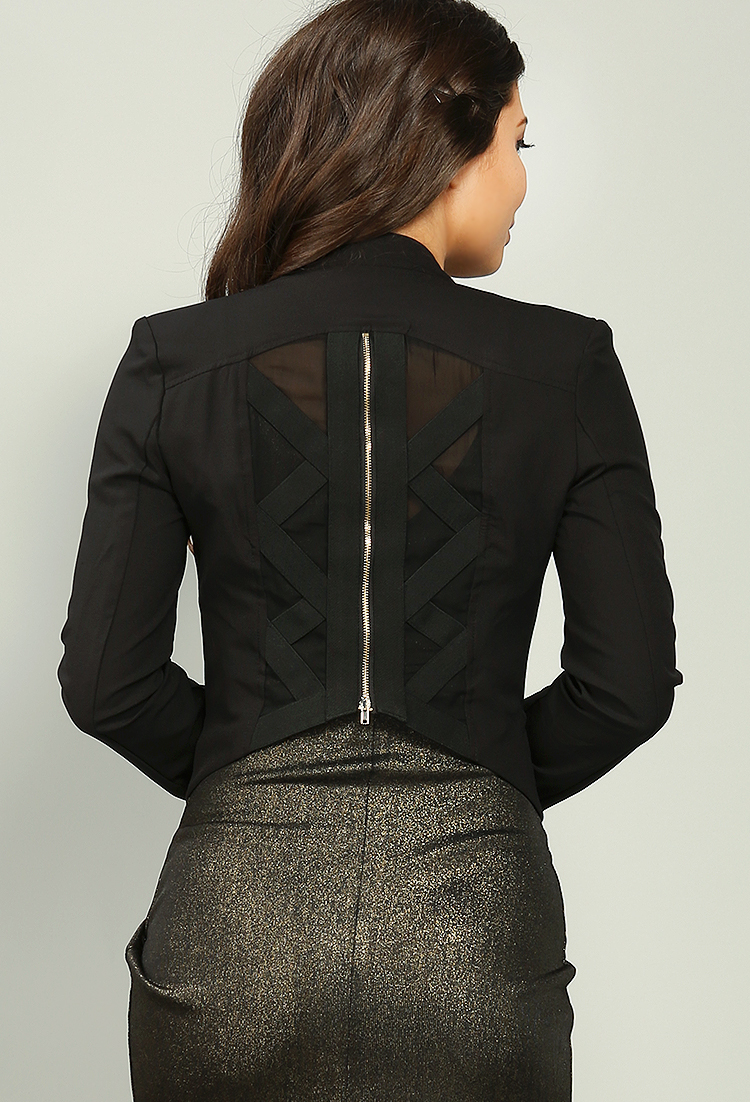 Bandage Zipper Detail Jacket