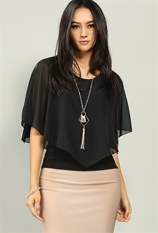 Cape Style Self-Tie Chiffon Blouse W/Necklace