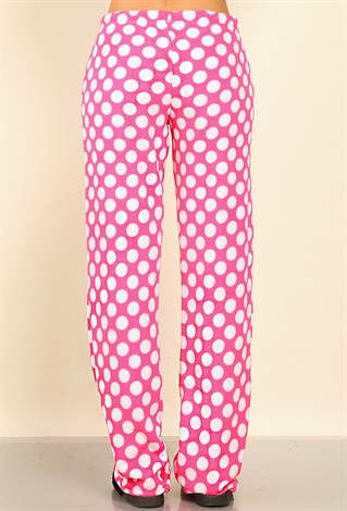 Polka Dot Plush Pj Pants Shop Old Bottoms At Papaya Clothing