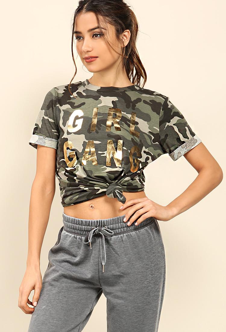 f2ce9d31fa15f Girl Gang Camo Graphic Tee