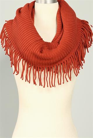 fringe knit infinity scarf shop scarves at papaya clothing
