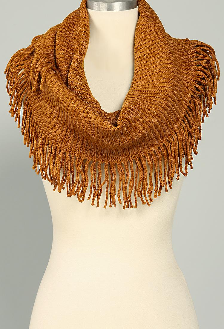 Knitting Pattern Scarf With Fringe : Fringe Knit Infinity Scarf Shop Scarves at Papaya Clothing