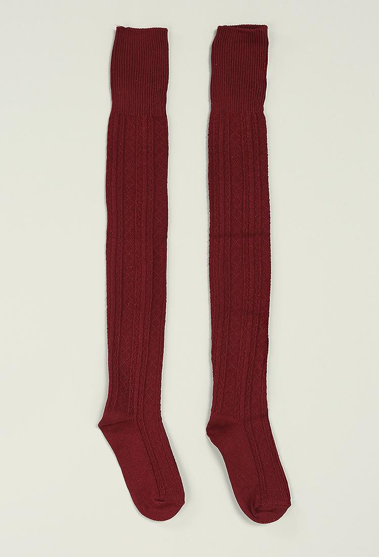 Knitting Pattern For Over The Knee Socks : Over-The-Knee Knit Socks Shop Socks at Papaya Clothing