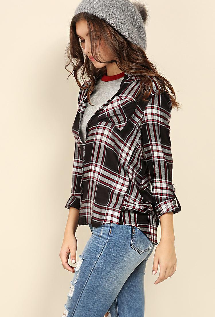 Plaid flannel shirt shop clothing at papaya clothing for Black watch plaid flannel shirt