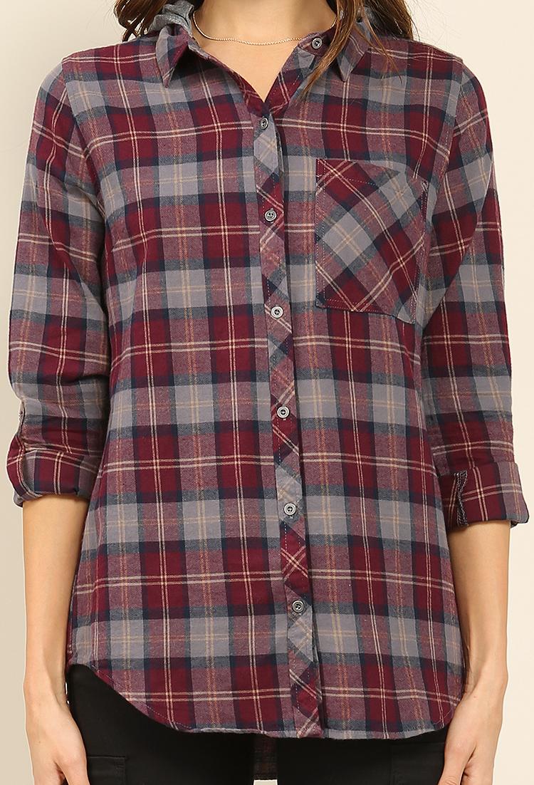 Plaid button up w detachable hoodie shop sweatshirts hoodies at papaya clothing - Hooi plaid ...