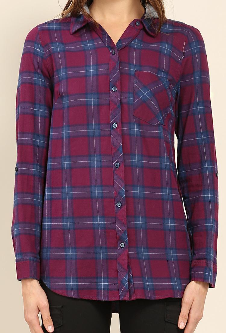 Plaid button up w detachable hoodie shop blouse shirts at papaya clothing - Hooi plaid ...