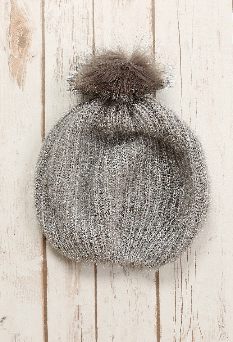 Glitter knit full fur pom pom beanie shop what 39 s new at for Gitter fur steinkorbe
