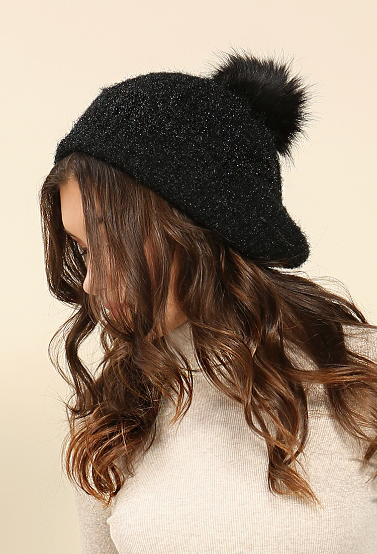 Glitter knit full fur pom pom beanie shop old hats for Gitter fur steinkorbe