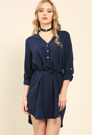 Drawstring Roll-Up Shirt Dress