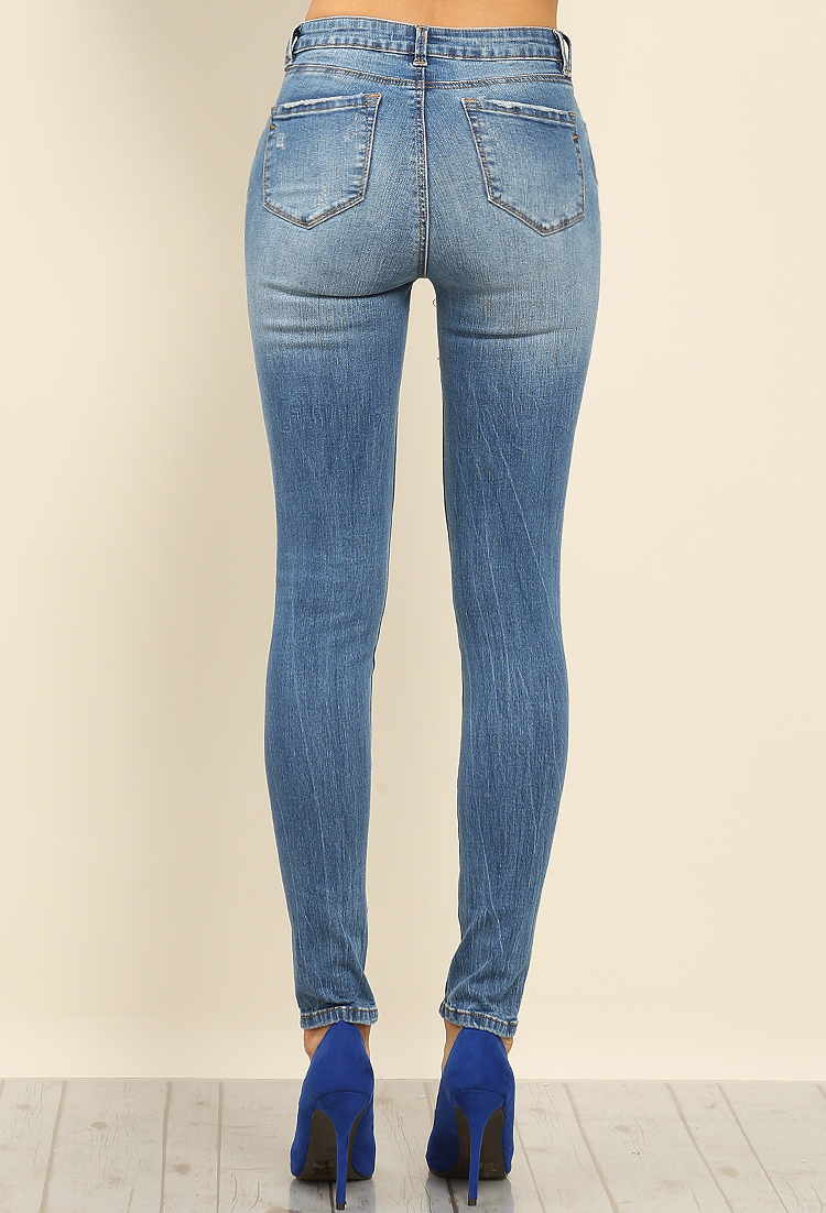 Erin Skinny High-Rise Distressed Jeans   Shop Jeans at Papaya Clothing