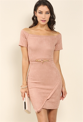 Suede Off Shoulder Bodycon Dress | Shop Night Out Dresses At Papaya Clothing