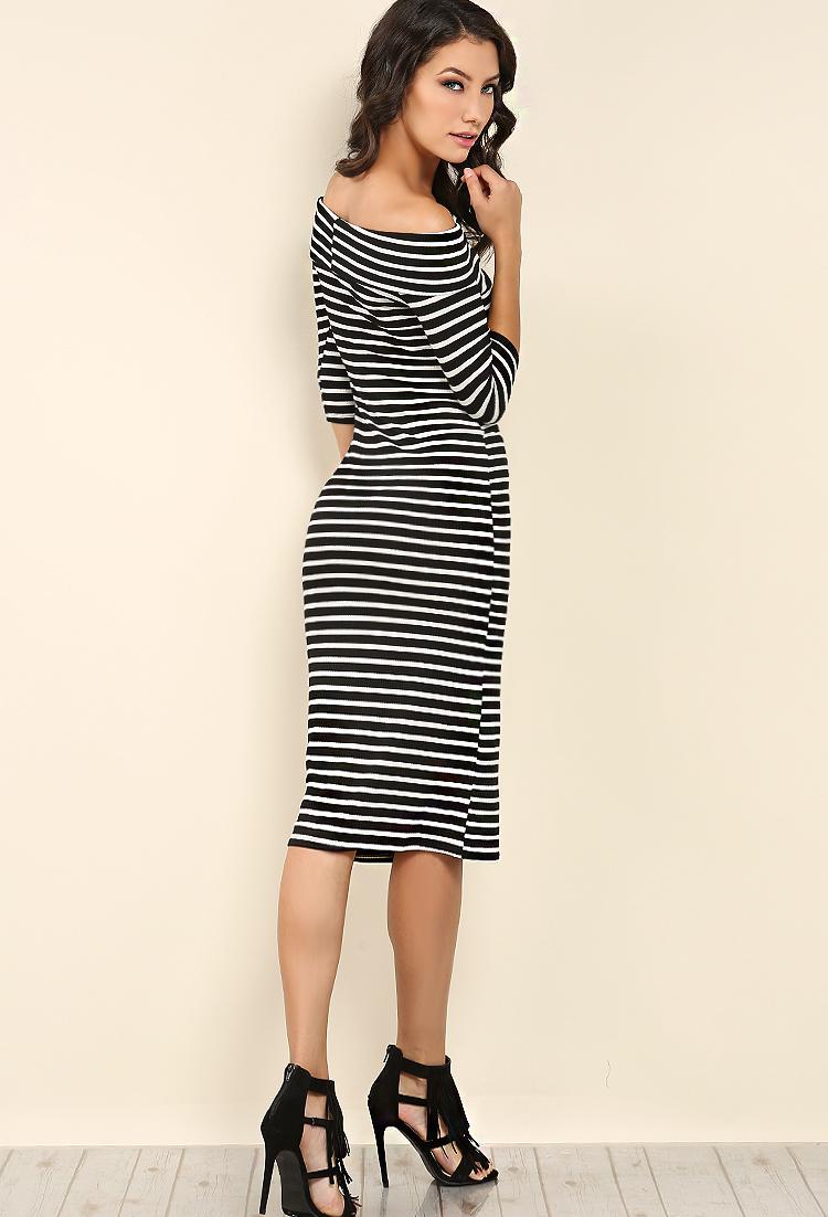 fed82c31d9d7 ... Striped Off Shoulder Midi Dress ...