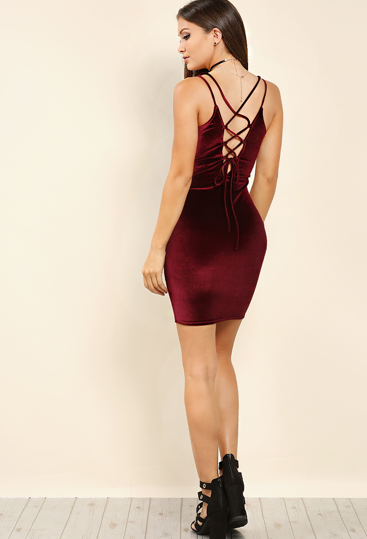 ac5fdb17ce03 Back Lace-Up Velvet Bodycon Dress | Shop What's New at Papaya Clothing
