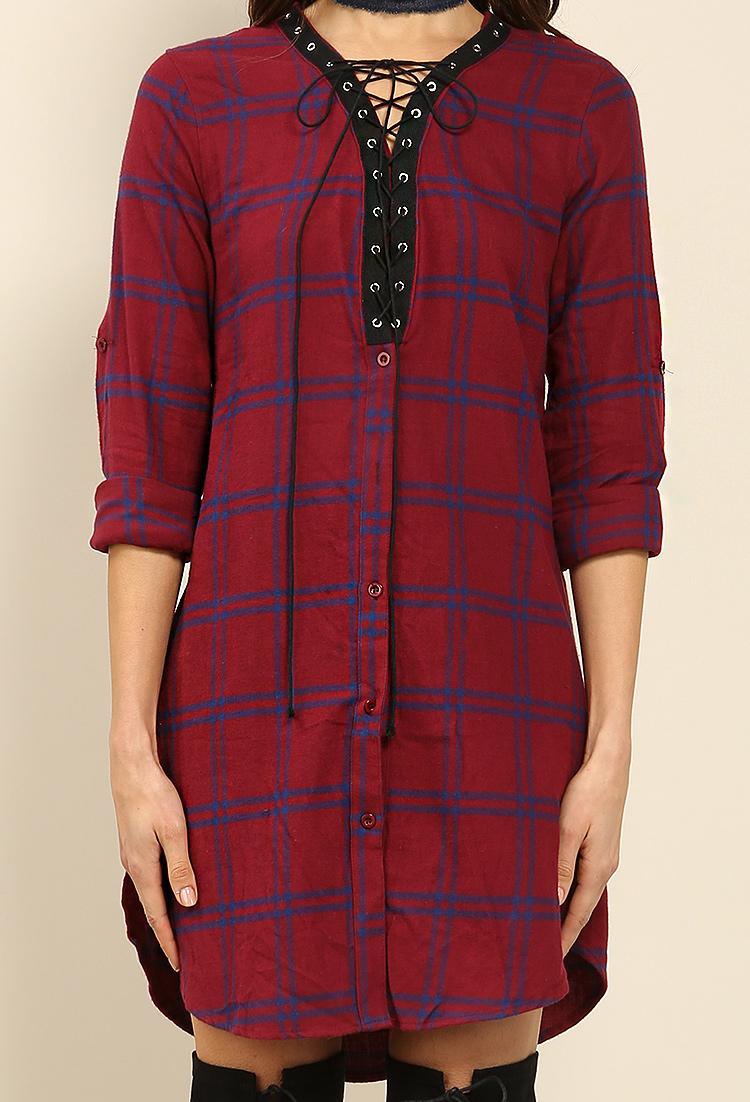 47387e9f4a Plaid Lace Up Shirt Dress