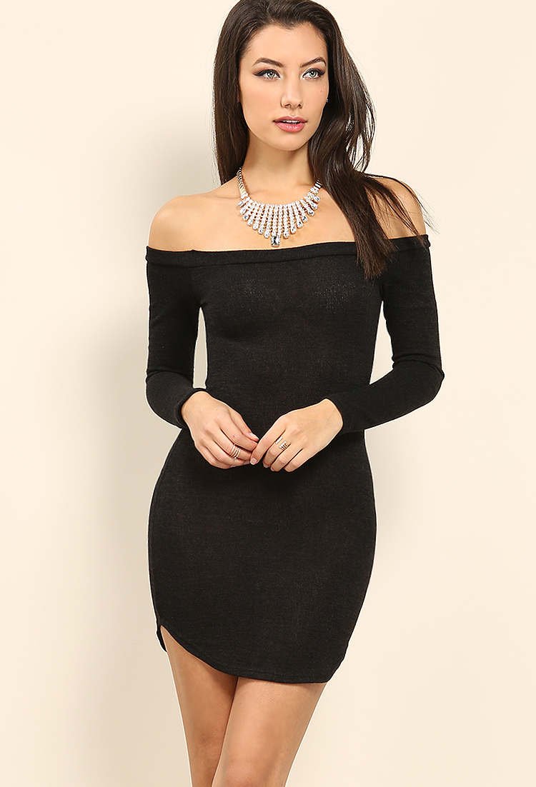 Marled off-the-shoulder Bodycon Dress w/ Necklace