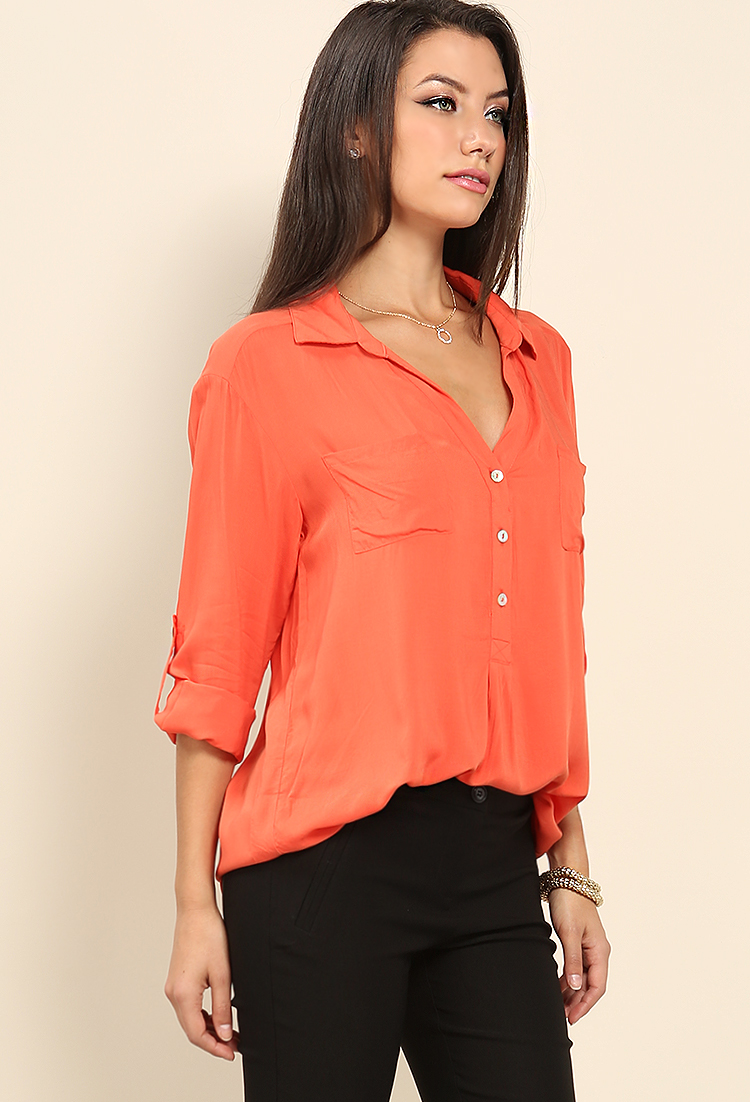 V neck button accented shirt shop dressy tops at papaya for V neck button up shirt