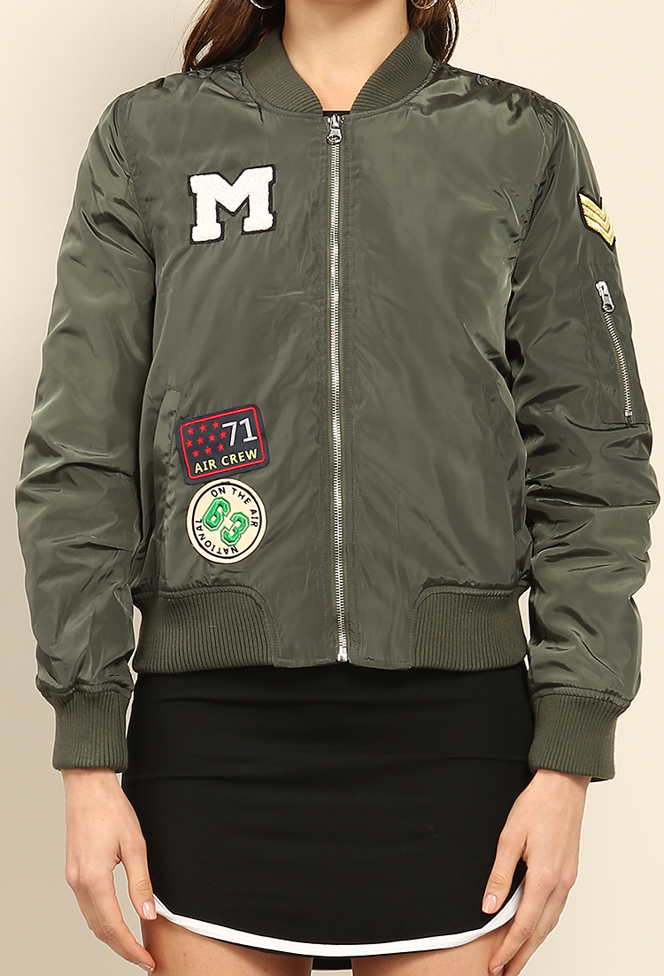 air force patch bomber jacket shop outerwear at papaya. Black Bedroom Furniture Sets. Home Design Ideas