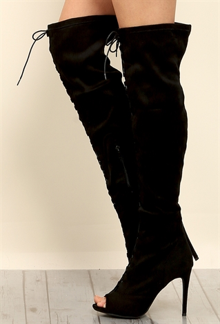 suedette front lace up thigh high boots shop shoes at