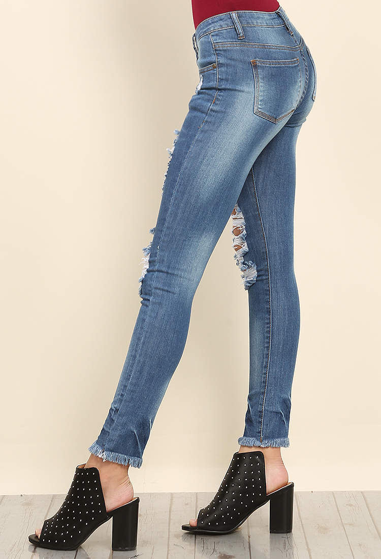 Distressed Raw-Cut Skinny Jeans