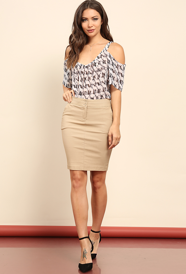 Two Buttoned Mini Skirt