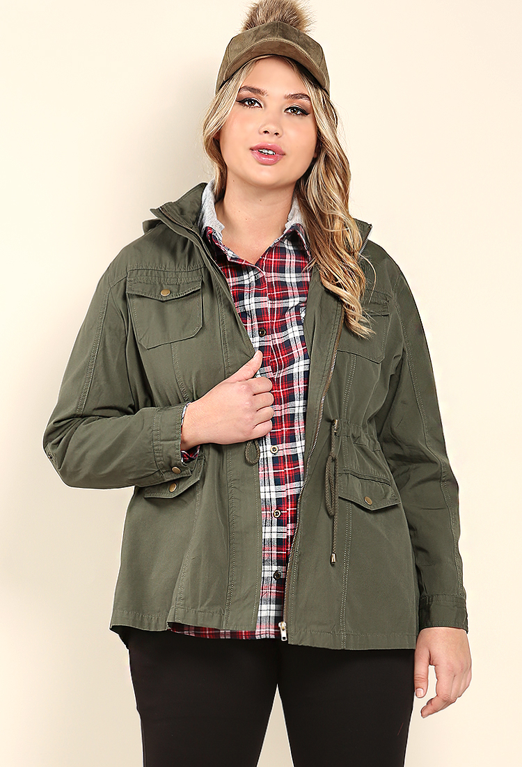 e411110a217 Plus Size Hooded Utility Jacket