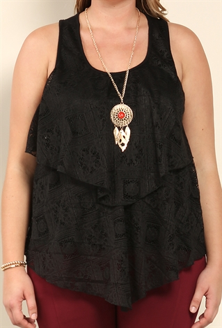Plus Size Lace Overlay Top W/ Necklace