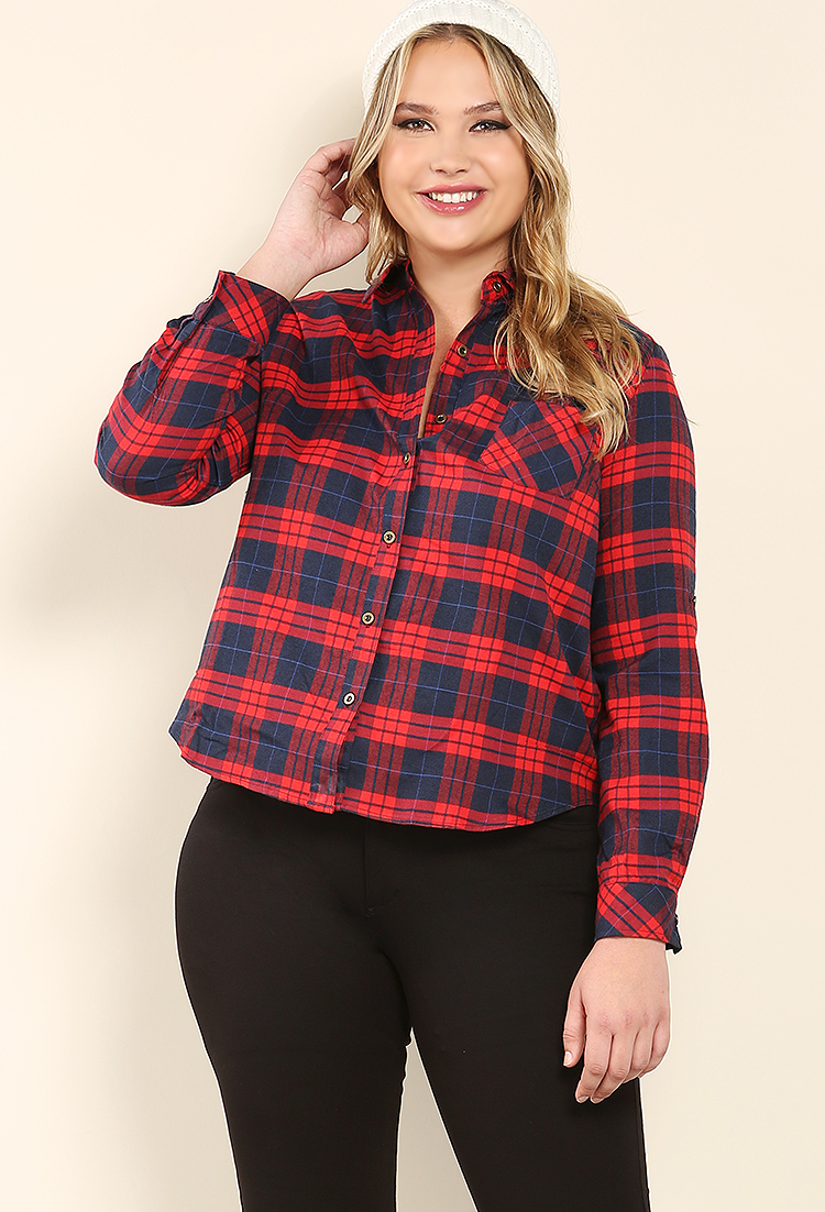 Plus Size Plaid Flannel Shirt  87d43a5fb5b6