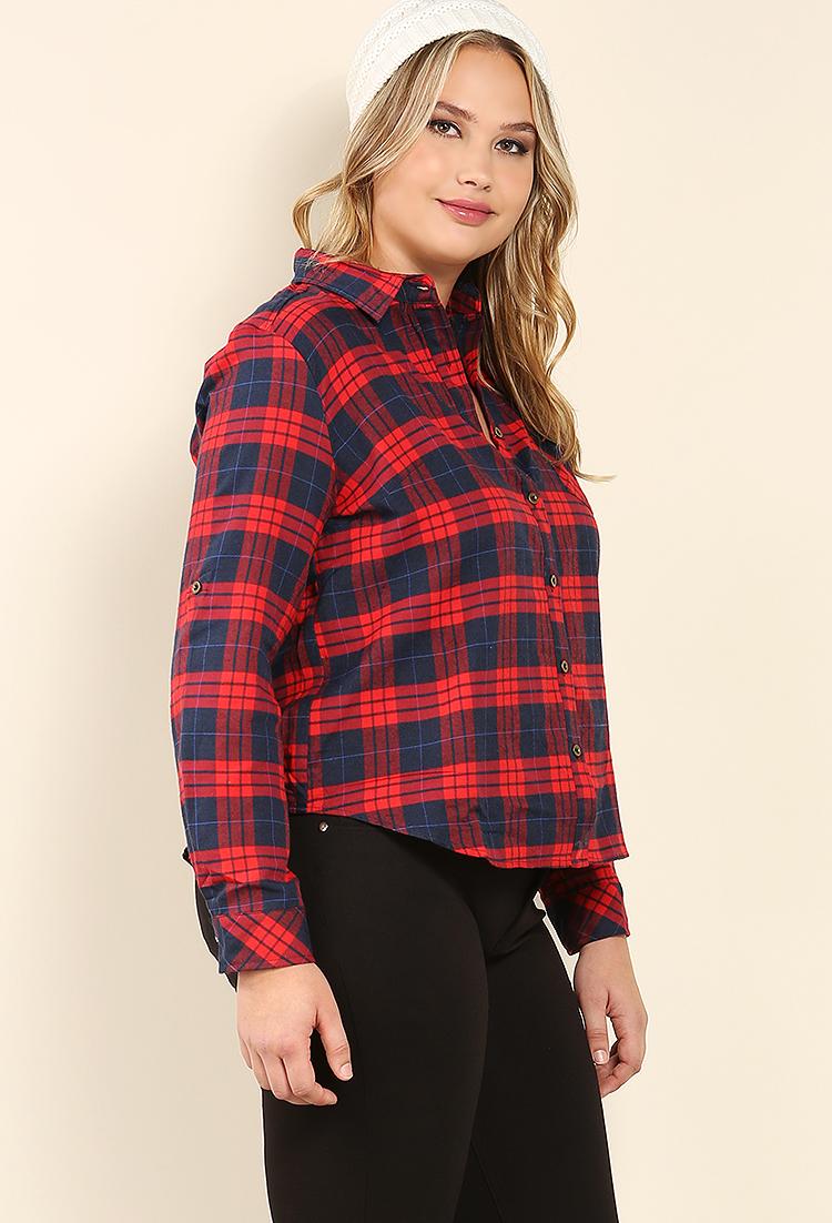 plus size plaid flannel shirt shop at papaya clothing