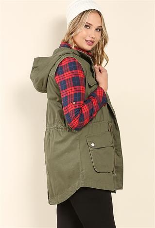 plus size hooded utility vest | shop plus size at papaya clothing