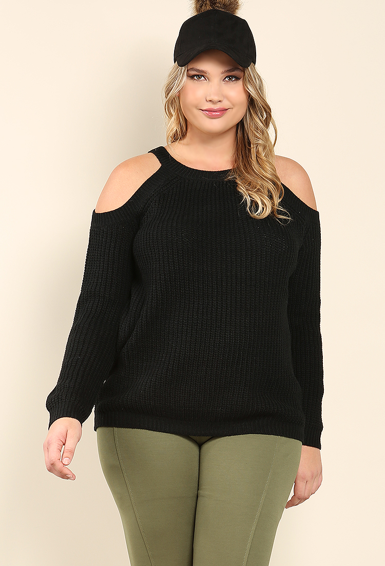 cd7c57e6f7 Plus Size Knit Open-Shoulder Sweater