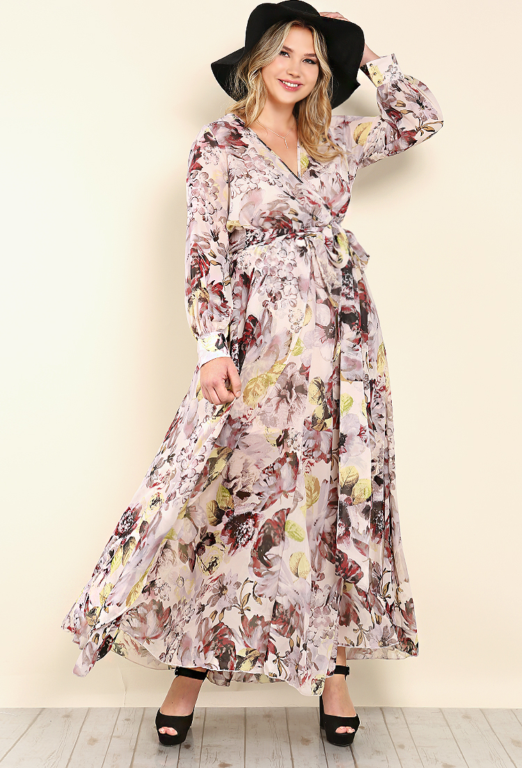 Floral Surplice Maxi Dress | Shop Old Plus Size at Papaya ...