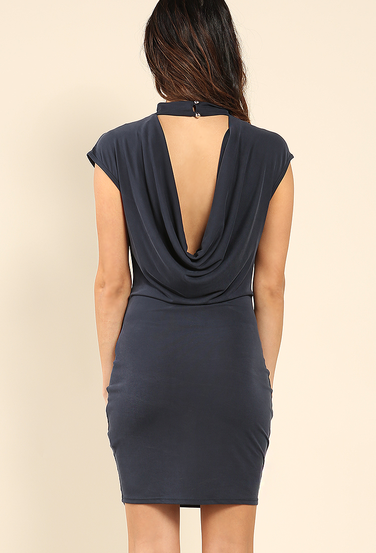 cowl neck midi dress w necklace shop dresses at papaya