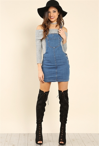 Overall Denim Skirt | Shop Valentine`S Day at Papaya Clothing