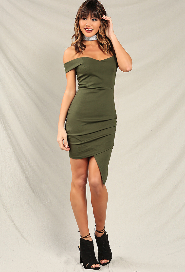 4c97505f9e7d Ruched Asymmetrical Off-The-Shoulder Dress | Shop New And Now at ...