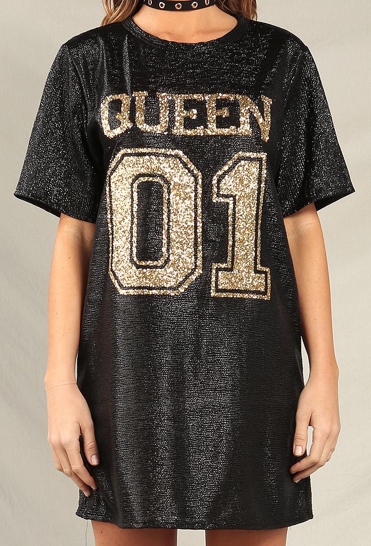 d72e245ce4 Metallic Glitter Queen T-Shirt Dress | Shop Fashion Deal at Papaya Clothing