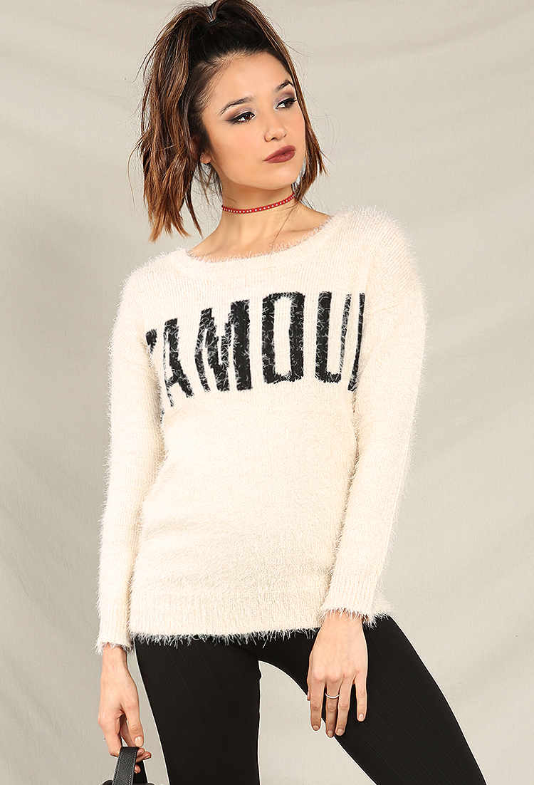 Fuzzy Knit L'amour Sweater | Shop Sweaters at Papaya Clothing