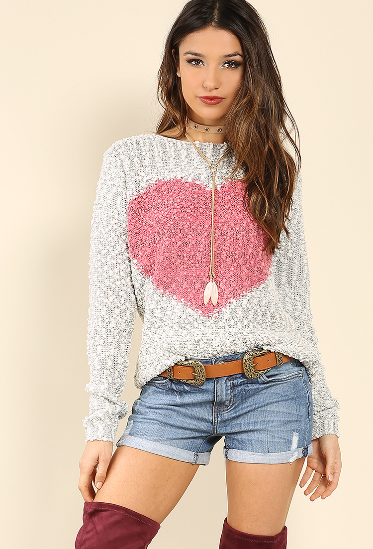 Fuzzy Knit Heart Sweater | Shop Sweaters & Cardigans at Papaya ...