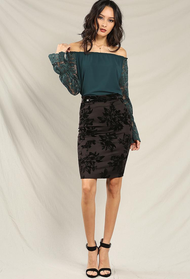 Velvet Floral Print Midi Skirt W/ Belt | Shop Midi Skirts at ...