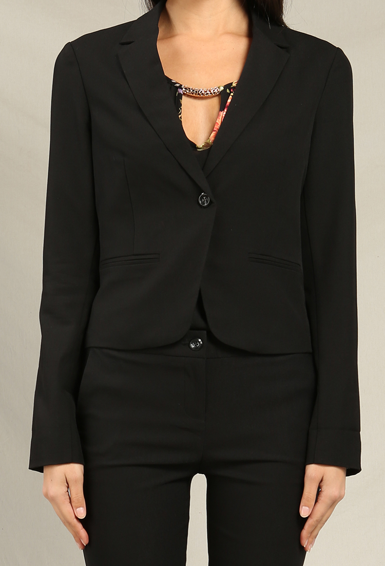 Single-Button Stripe Roll-Up Sleeve Blazer