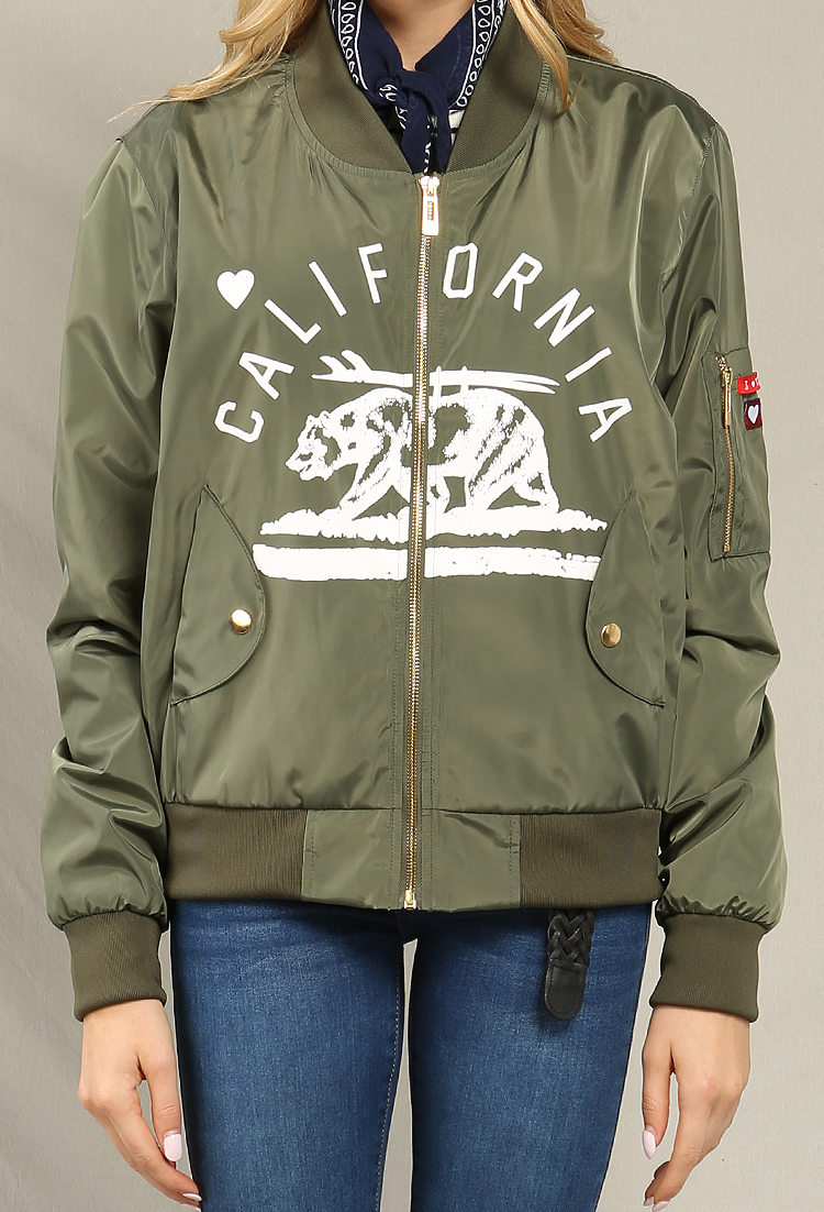 California Grizzly Bear Graphic Bomber Jacket