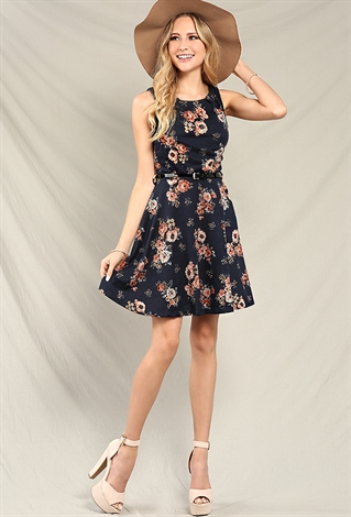 belted floral skater dress shop dresses at papaya clothing