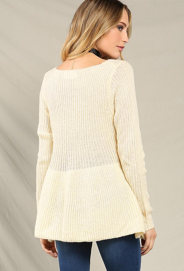 Knitting Pattern Peplum Cardigan : Peplum Knit Sweater Shop Tops at Papaya Clothing