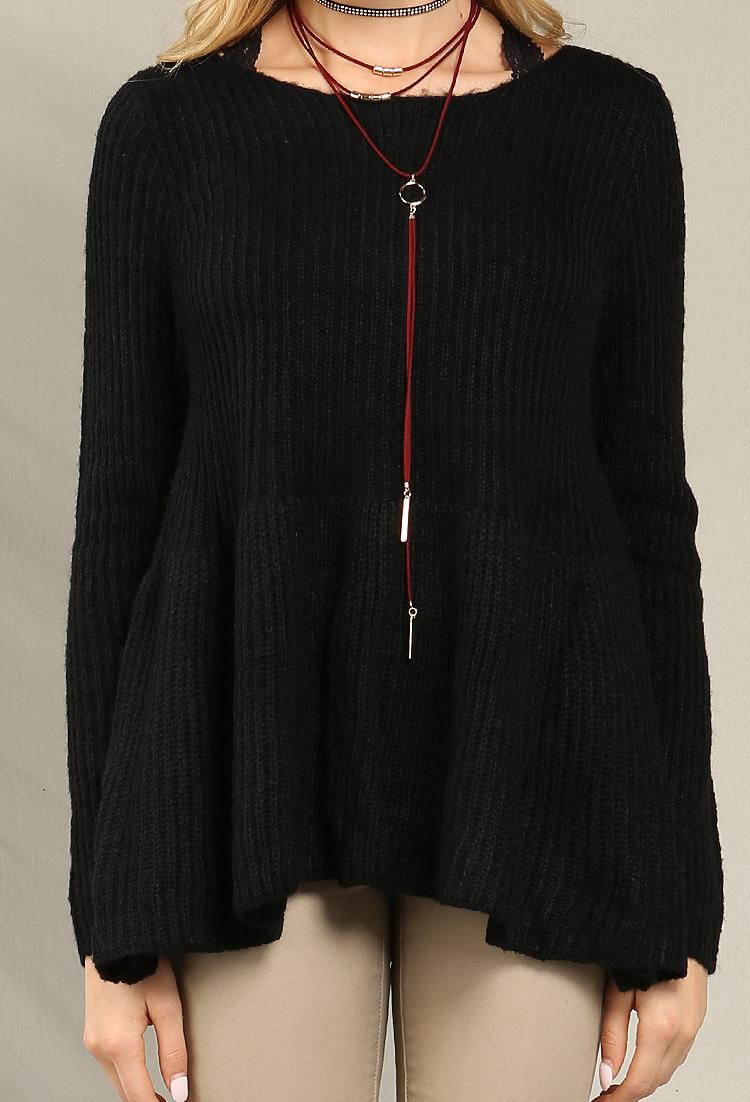 Peplum Knit Sweater Shop Sweaters & Cardigans at Papaya Clothing