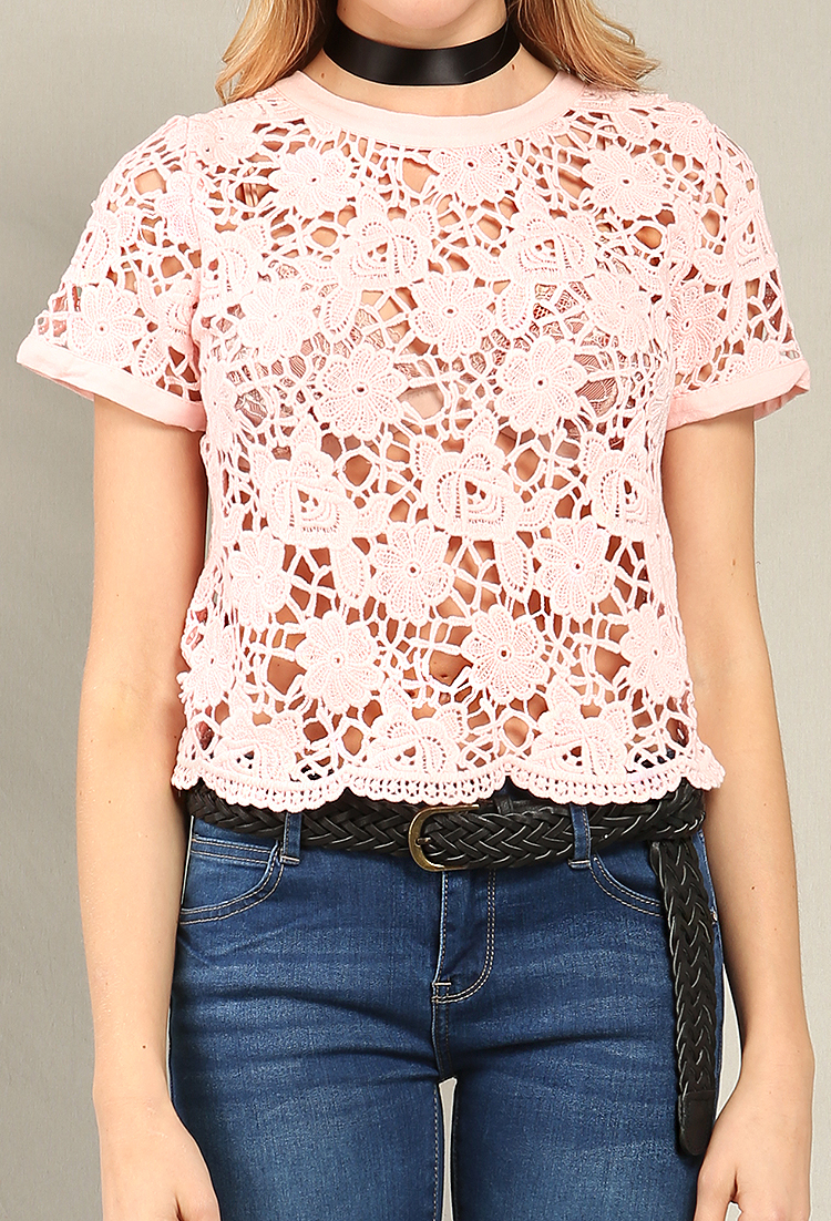 98bf0b87e5 ... Floral Crochet Lace-Up Back Top