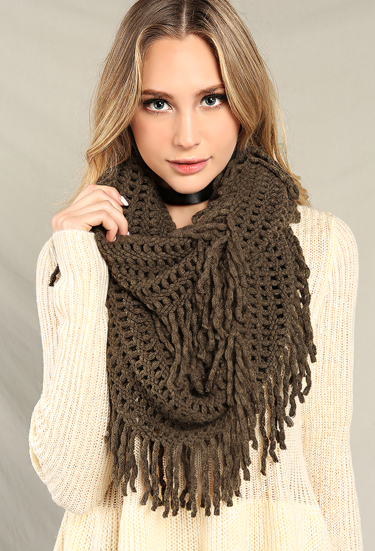 Loose Knit Shawl Pattern : Loose Knit Fringe Infinity Scarf Shop Scarves at Papaya Clothing