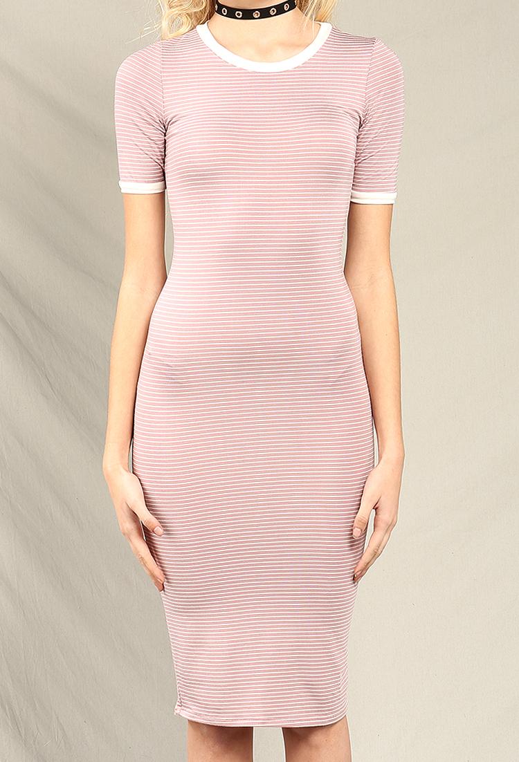 67ddec66 Striped Midi T-Shirt Dress | Shop Old Midi Dresses at Papaya Clothing
