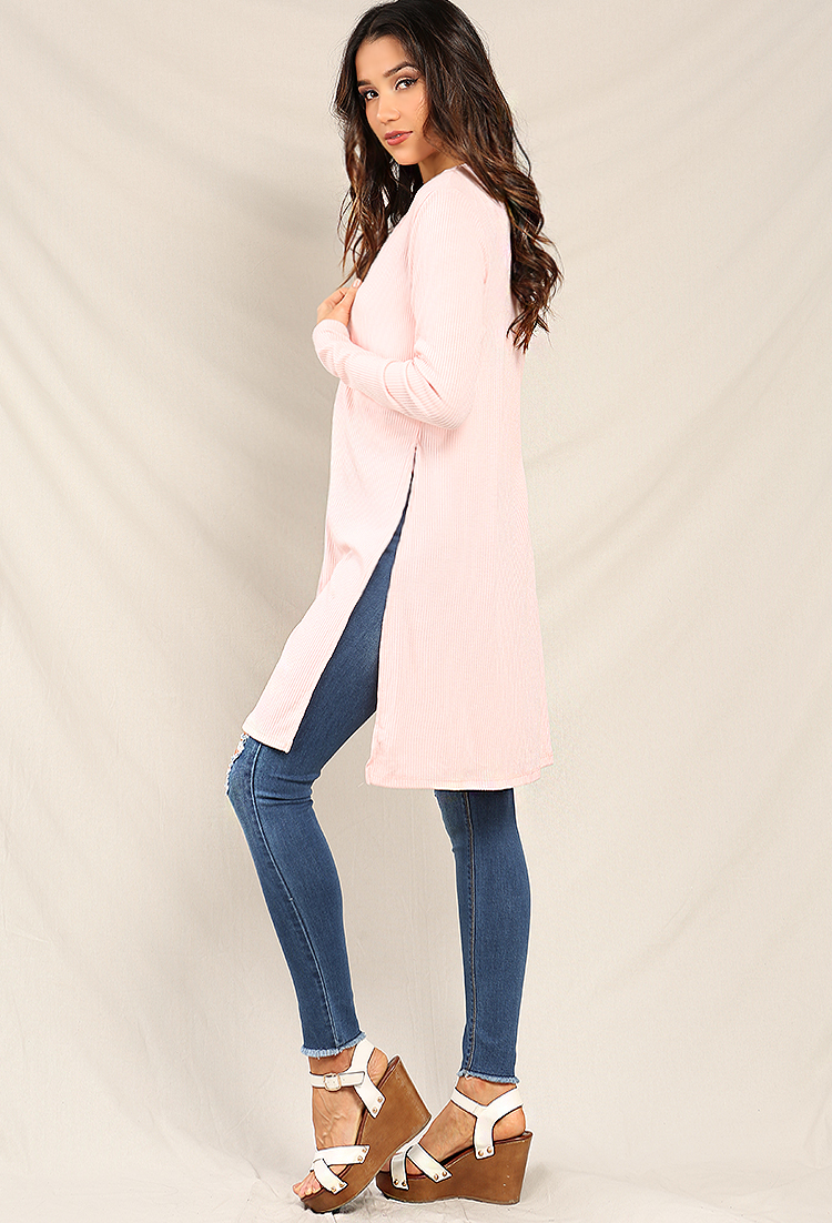 Ribbed Longline Side-Slit Cardigan | Shop New And Now at Papaya ...