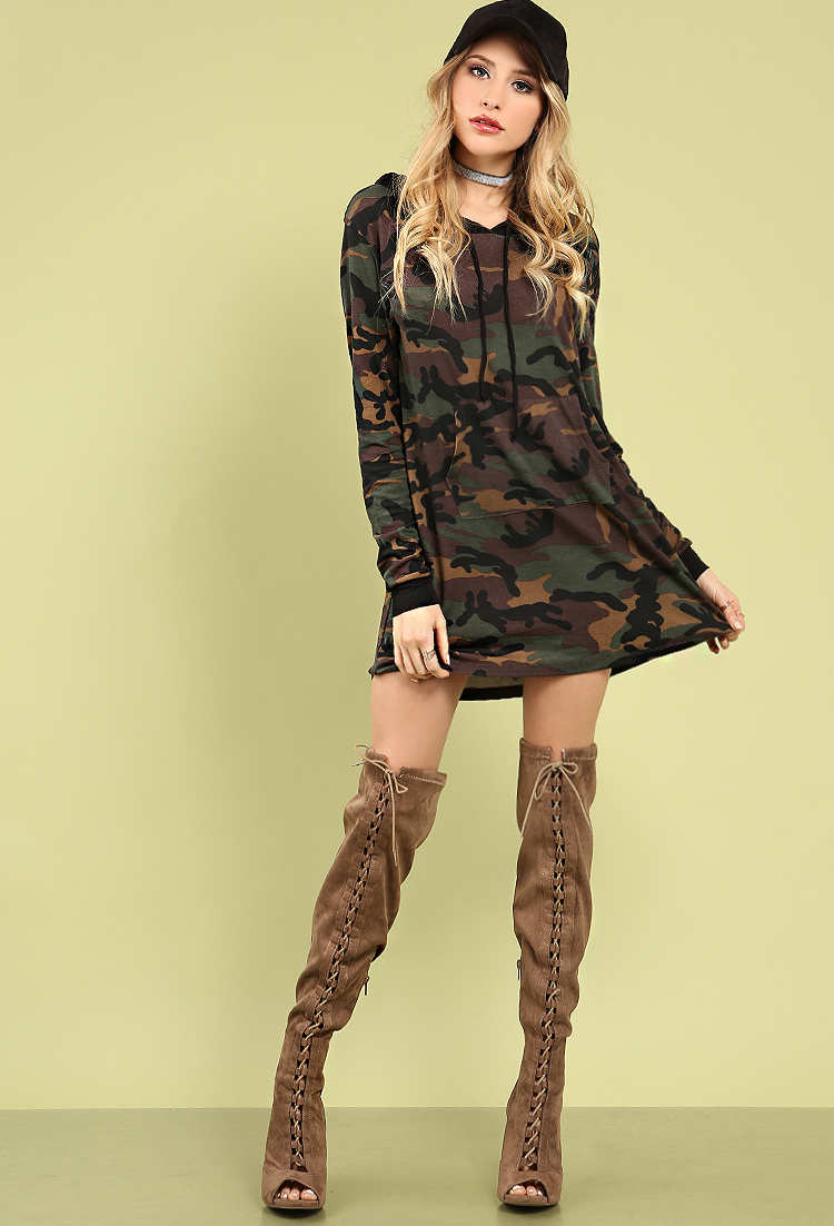 0801f4a155a5 Hooded Camo Sweatshirt Dress