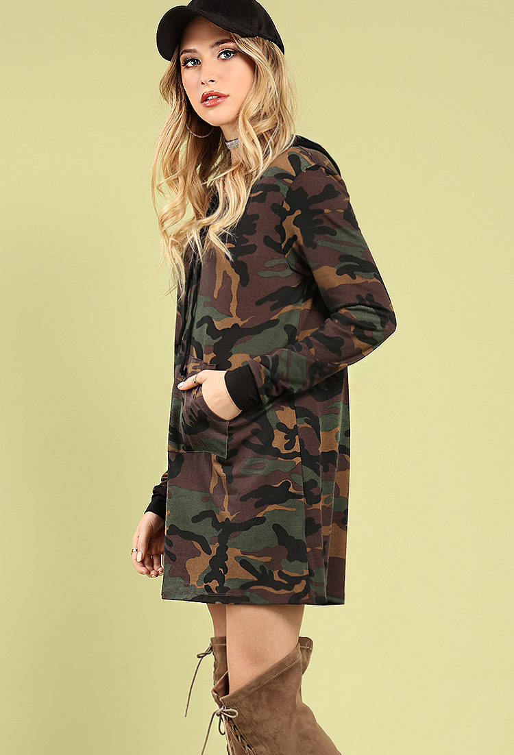 fde0a841fa2 Hooded Camo Sweatshirt Dress  Hooded Camo Sweatshirt Dress ...